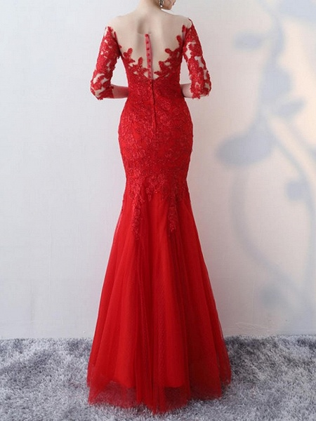 Mermaid \ Trumpet Wedding Dresses Jewel Neck Floor Length Lace Half Sleeve Formal Red_3