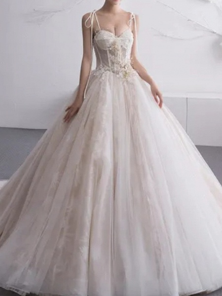 A-Line Wedding Dresses Sweetheart Neckline Court Train Lace Tulle Charmeuse Spaghetti Strap Formal Plus Size_1