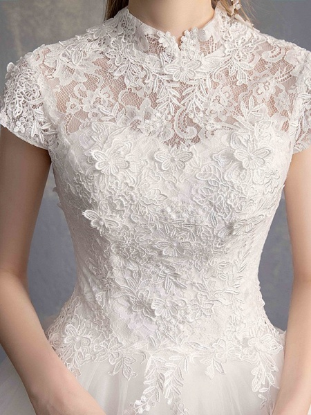 Ball Gown Wedding Dresses High Neck Floor Length Lace Tulle Lace Over Satin Short Sleeve Vintage Illusion Sleeve_10
