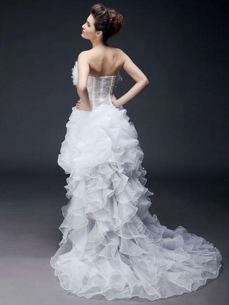 Ball Gown Strapless Sweep \ Brush Train Asymmetrical Organza Sleeveless Wedding Dresses_3