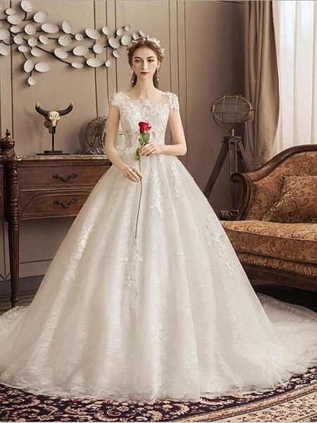 Ball Gown Jewel Neck Watteau Train Lace Tulle Polyester Short Sleeve Romantic Wedding Dresses_1
