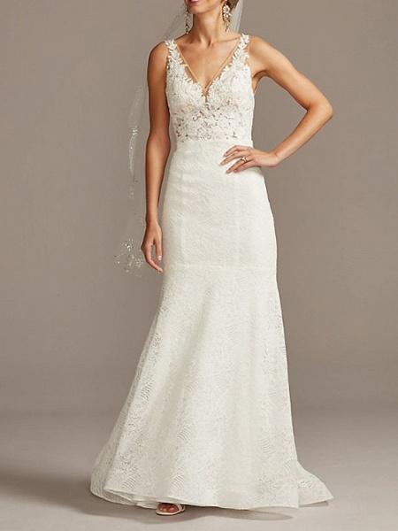 Mermaid \ Trumpet Wedding Dresses V Neck Sweep \ Brush Train Lace Tulle Sleeveless Romantic_1