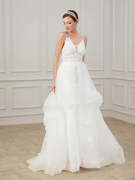 A-Line Wedding Dresses V Neck Sweep \ Brush Train Chiffon Lace Tulle Sleeveless Formal Plus Size_4