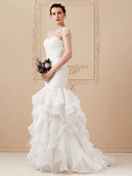 Mermaid \ Trumpet Wedding Dresses Sweetheart Neckline Sweep \ Brush Train Organza Tulle Cap Sleeve Formal Separate Bodies_8