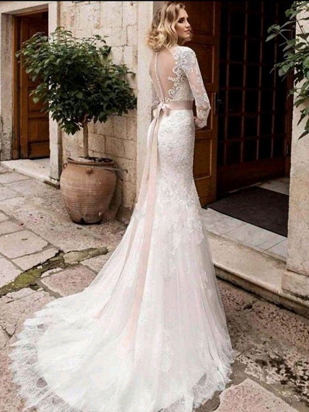 Mermaid \ Trumpet Wedding Dresses Jewel Neck Court Train Lace Tulle Lace Over Satin Long Sleeve Plus Size Illusion Sleeve_2