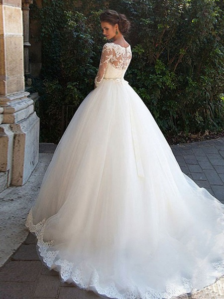 A-Line Wedding Dresses Off Shoulder Court Train Lace Tulle 3\4 Length Sleeve Formal Sexy Illusion Sleeve_2