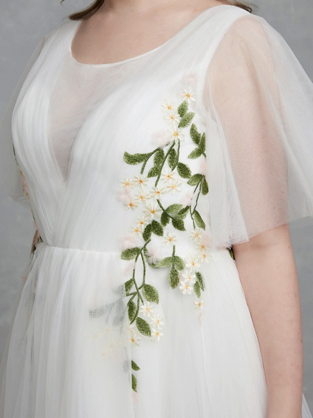 A-Line Wedding Dresses Jewel Neck Sweep \ Brush Train Tulle Short Sleeve Casual Boho Plus Size_8