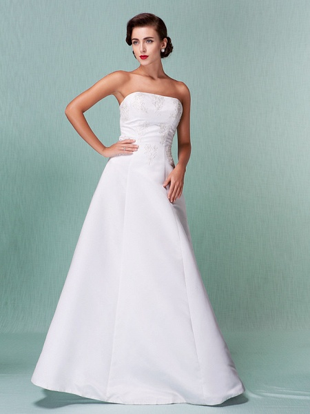A-Line Wedding Dresses Strapless Floor Length Lace Over Satin Strapless Formal Simple Vintage Little White Dress Plus Size_10