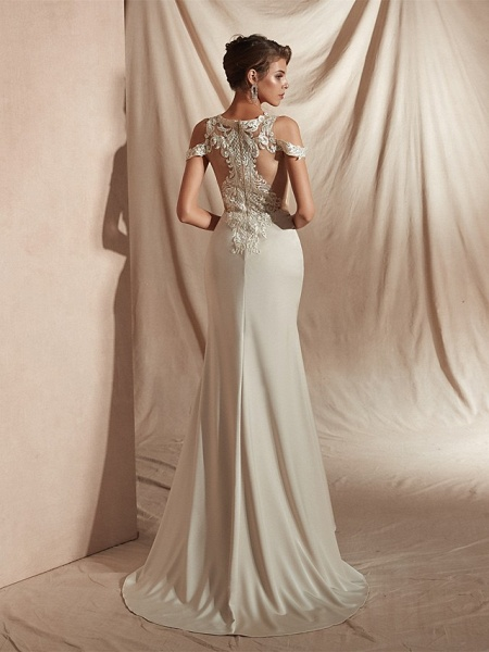 Mermaid \ Trumpet Wedding Dresses V Neck Asymmetrical Matte Satin Short Sleeve Casual Sexy Illusion Detail Modern_4