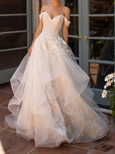 A-Line Strapless Court Train Polyester Short Sleeve Formal Illusion Detail Wedding Dresses_1