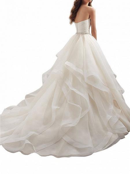 A-Line Wedding Dresses Sweetheart Neckline Chapel Train Organza Strapless Plus Size_2