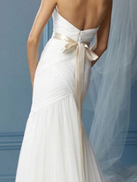 Mermaid \ Trumpet Sweetheart Neckline Sweep \ Brush Train Lace Sleeveless Formal Wedding Dresses_3