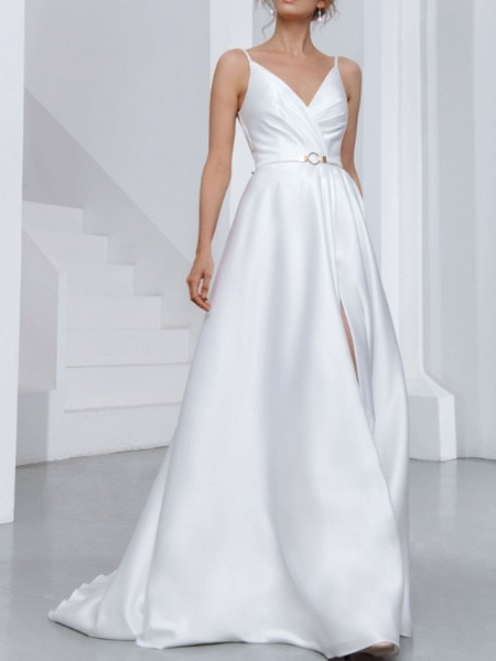 A-Line Wedding Dresses V Neck Spaghetti Strap Sweep \ Brush Train Chiffon Over Satin Sleeveless Country Sexy Plus Size_3