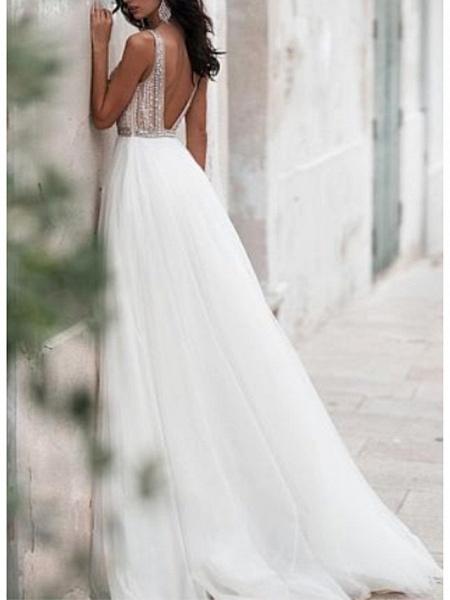 A-Line Wedding Dresses V Neck Sweep \ Brush Train Tulle Regular Straps_2