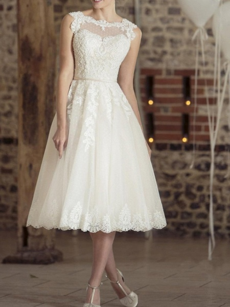 A-Line Wedding Dresses Jewel Neck Tea Length Lace Tulle Sleeveless Vintage Sexy Wedding Dress in Color Backless_1