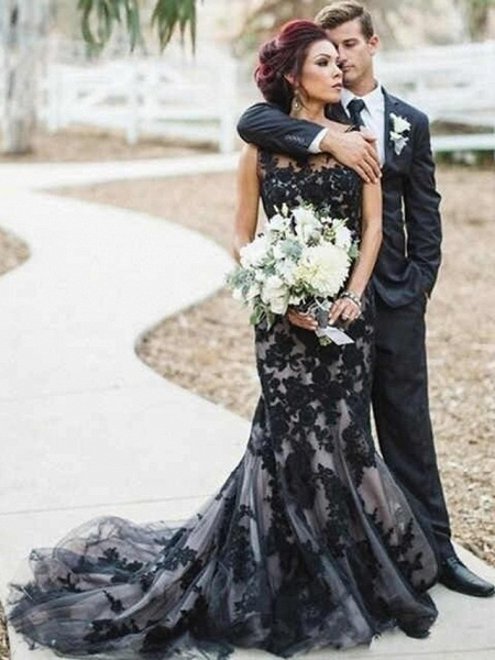 Mermaid \ Trumpet Jewel Neck Court Train Lace Satin Tulle Regular Straps Sexy Black Modern Wedding Dresses_1