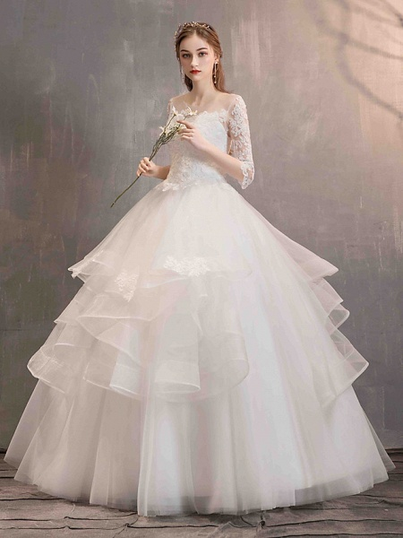 Ball Gown Wedding Dresses Jewel Neck Floor Length Lace Tulle Half Sleeve Glamorous See-Through Backless Illusion Sleeve_5