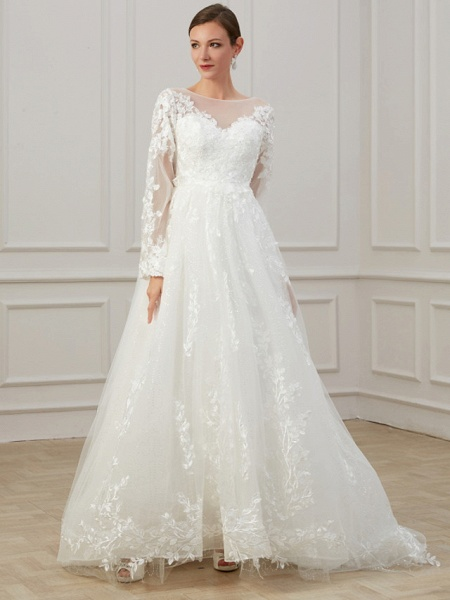 A-Line Jewel Neck Sweep \ Brush Train Lace Tulle Long Sleeve Beach Plus Size Illusion Sleeve Wedding Dresses_1
