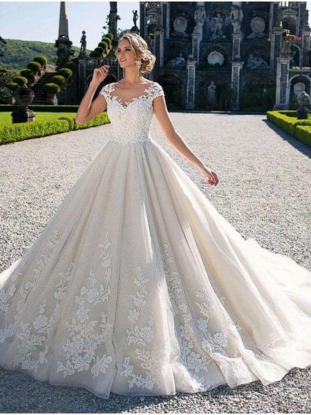 Ball Gown Jewel Neck Chapel Train Lace Tulle Lace Over Satin Cap Sleeve Glamorous Illusion Detail Wedding Dresses_3