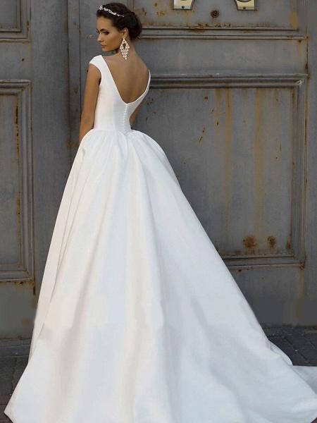 A-Line Wedding Dresses Bateau Neck Court Train Polyester Cap Sleeve_4
