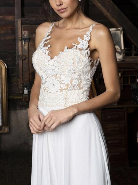 Jumpsuits Wedding Dresses V Neck Floor Length Chiffon Sleeveless Vintage Sexy_3
