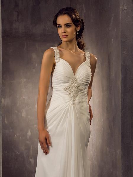 Sheath \ Column Wedding Dresses Sweetheart Neckline Sweep \ Brush Train Chiffon Regular Straps_7