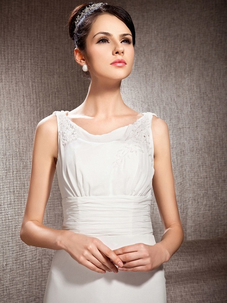 Sheath \ Column Scoop Neck Court Train Chiffon Sleeveless Wedding Dresses_5