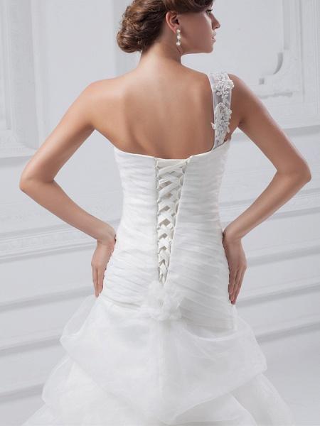A-Line One Shoulder Court Train Organza Satin Spaghetti Strap Wedding Dresses_5