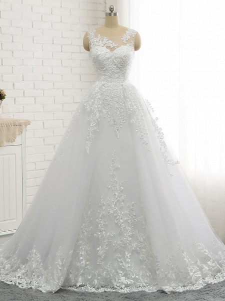 A-Line Wedding Dresses Scoop Neck Court Train Lace Tulle Lace Over Satin Regular Straps Romantic See-Through_2