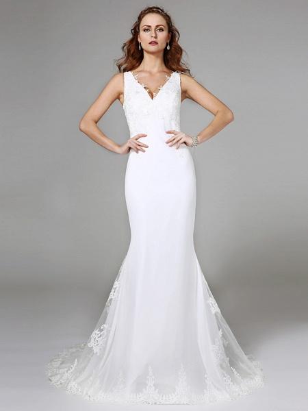 Mermaid \ Trumpet Wedding Dresses V Neck Sweep \ Brush Train Lace Regular Straps Boho Sexy See-Through Plus Size_1