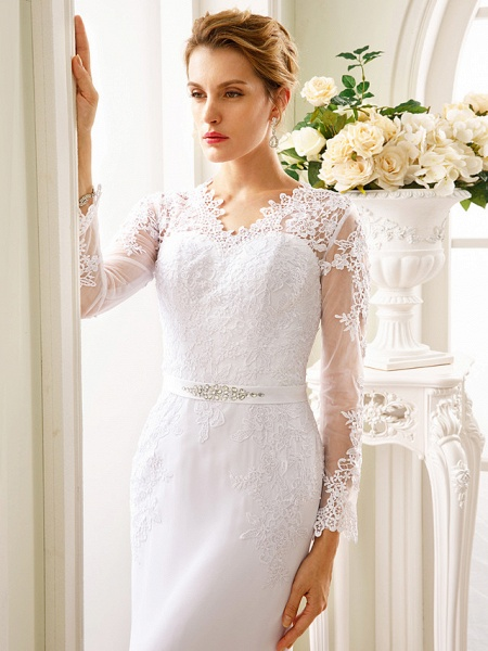 Mermaid \ Trumpet Wedding Dresses V Neck Court Train Chiffon Floral Lace Long Sleeve Sexy See-Through Backless Illusion Sleeve_4