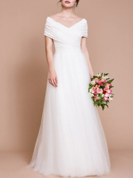 A-Line Wedding Dresses Off Shoulder Sweep \ Brush Train Tulle Short Sleeve Vintage Sexy Wedding Dress in Color Backless_1