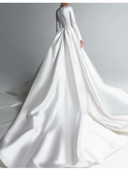 A-Line Wedding Dresses Jewel Neck Chapel Train Satin Long Sleeve Simple Plus Size Elegant_3