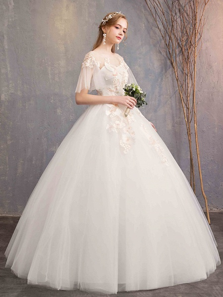 Ball Gown Wedding Dresses Bateau Neck Maxi Lace Tulle Short Sleeve Glamorous See-Through Backless_4
