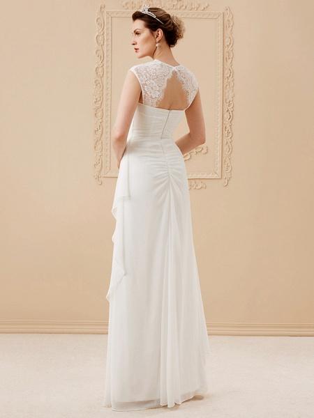 Sheath \ Column Wedding Dresses Square Neck Floor Length Chiffon Lace Cap Sleeve Simple Illusion Detail_2