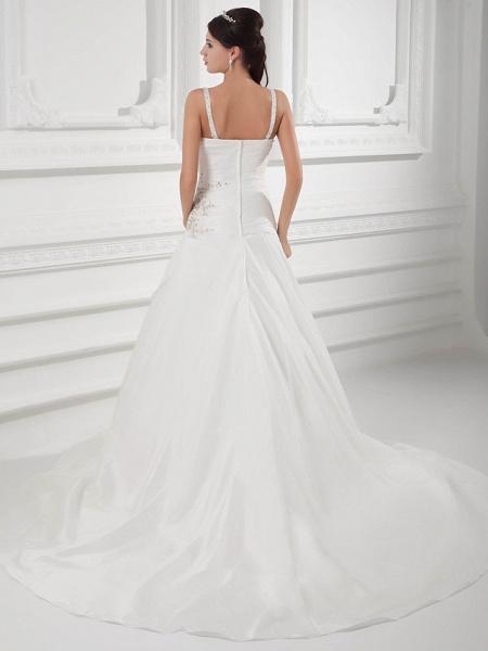A-Line Square Neck Court Train Satin Taffeta Spaghetti Strap Wedding Dresses_3
