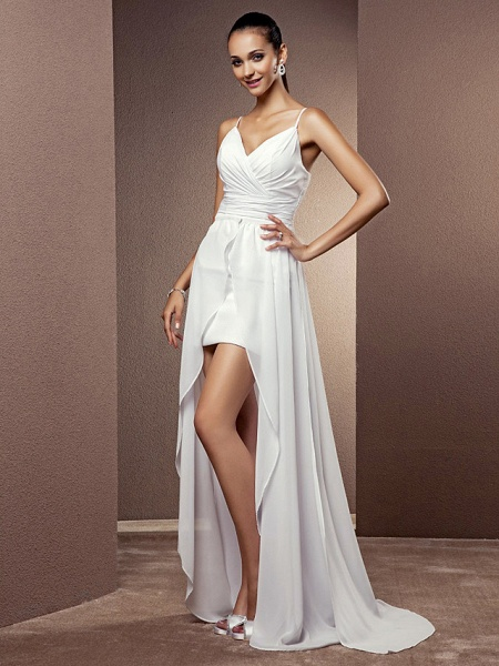 Sheath \ Column Wedding Dresses V Neck Asymmetrical Chiffon Sleeveless_3