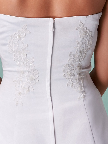 A-Line Wedding Dresses Strapless Floor Length Lace Over Satin Strapless Formal Simple Vintage Little White Dress Plus Size_6