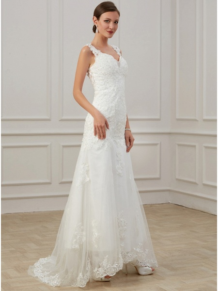 Sheath \ Column Wedding Dresses V Neck Floor Length Lace Tulle Sleeveless Formal Illusion Detail Plus Size_4