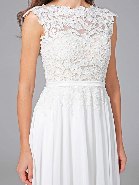 Sheath \ Column Wedding Dresses Bateau Neck Sweep \ Brush Train Chiffon Floral Lace Cap Sleeve Romantic Illusion Detail Backless_9