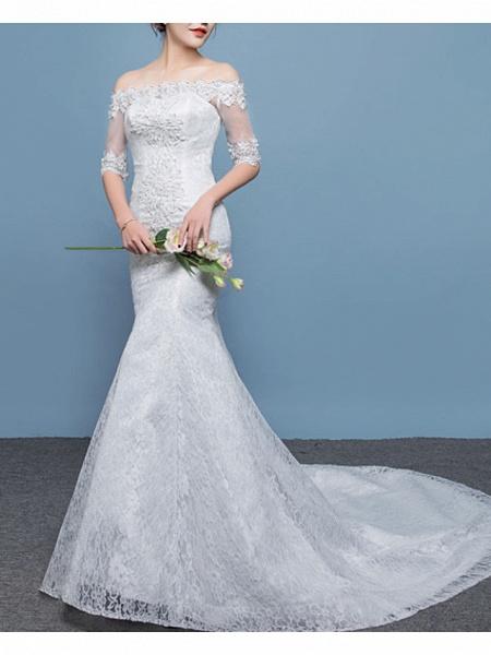 Mermaid \ Trumpet Wedding Dresses Off Shoulder Floor Length Lace Tulle Sleeveless Formal Plus Size_2