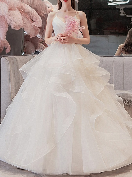 Ball Gown Wedding Dresses V Neck Floor Length Tulle Spaghetti Strap_1