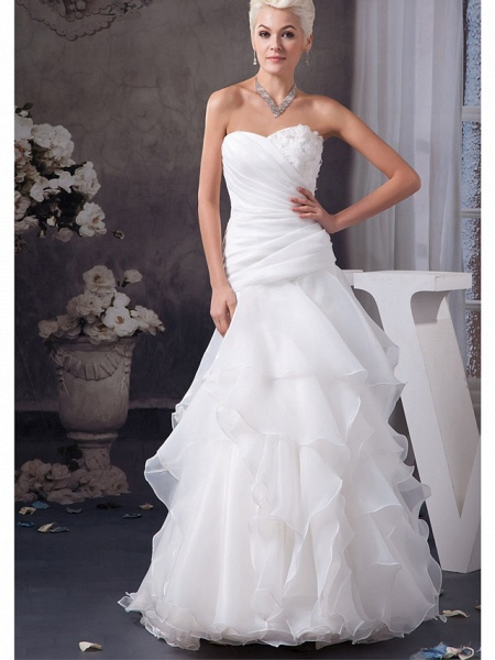 A-Line Sweetheart Neckline Floor Length Lace Organza Satin Strapless Wedding Dresses_1