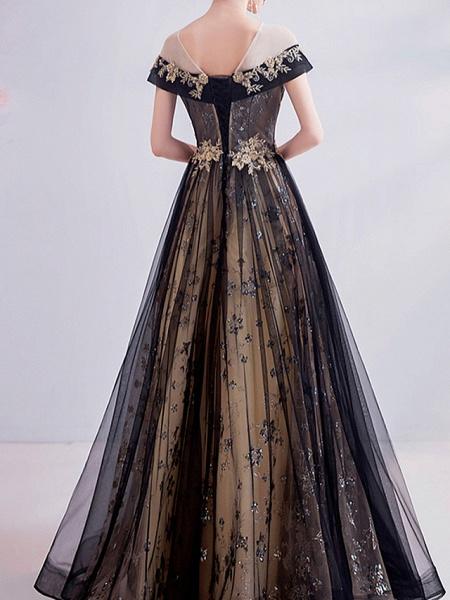 A-Line Wedding Dresses Jewel Neck Sweep \ Brush Train Chiffon Tulle Sleeveless Formal Plus Size Black_3