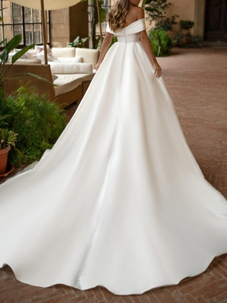 A-Line Wedding Dresses Off Shoulder Court Train Polyester Sleeveless Casual Plus Size_2
