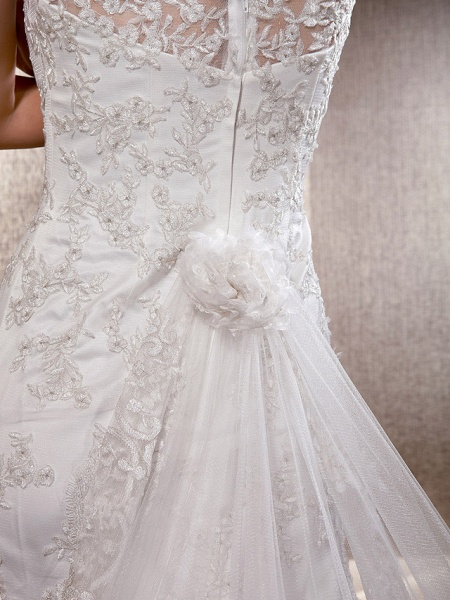 Mermaid \ Trumpet Wedding Dresses Scoop Neck Sweep \ Brush Train Lace Tulle Sleeveless_4