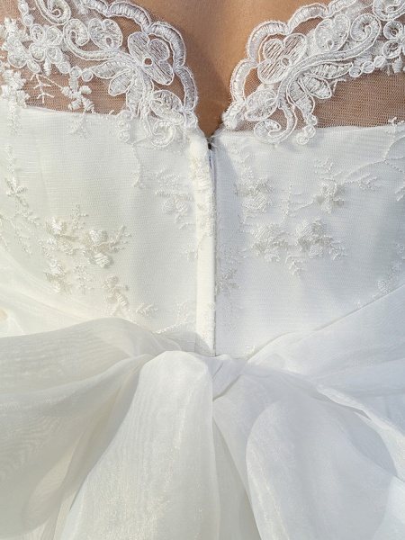 A-Line Wedding Dresses V Neck Ankle Length Organza Sheer Lace Half Sleeve Country Casual Vintage See-Through Illusion Sleeve_11
