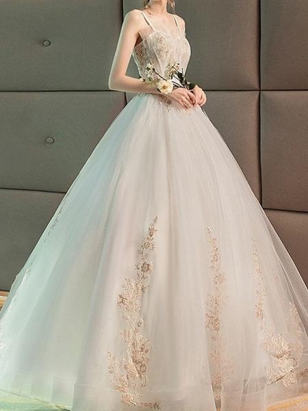 A-Line Wedding Dresses Strapless Floor Length Lace Sleeveless Beach_3