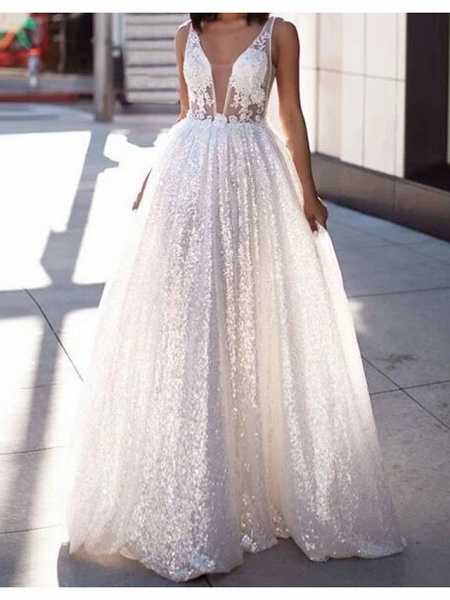 A-Line Wedding Dresses Scoop Neck Sweep \ Brush Train Lace Tulle Sleeveless Beach Sexy See-Through_1