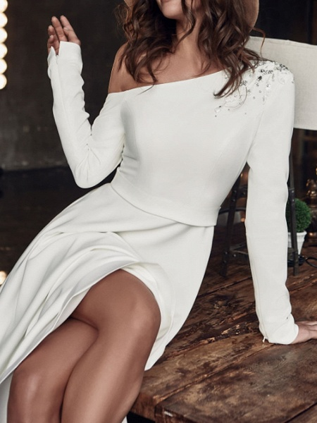 A-Line Wedding Dresses One Shoulder Sweep \ Brush Train Stretch Satin Long Sleeve Country Plus Size_4